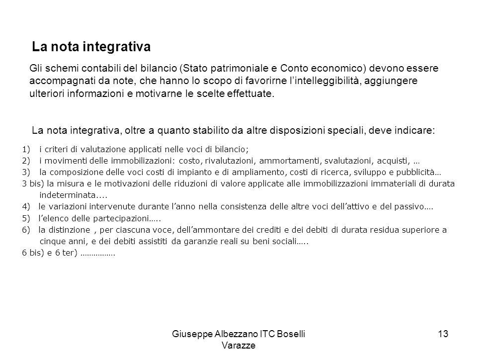 Giuseppe Albezzano ITC Boselli Varazze 14 La nota integrativa deve indicare….