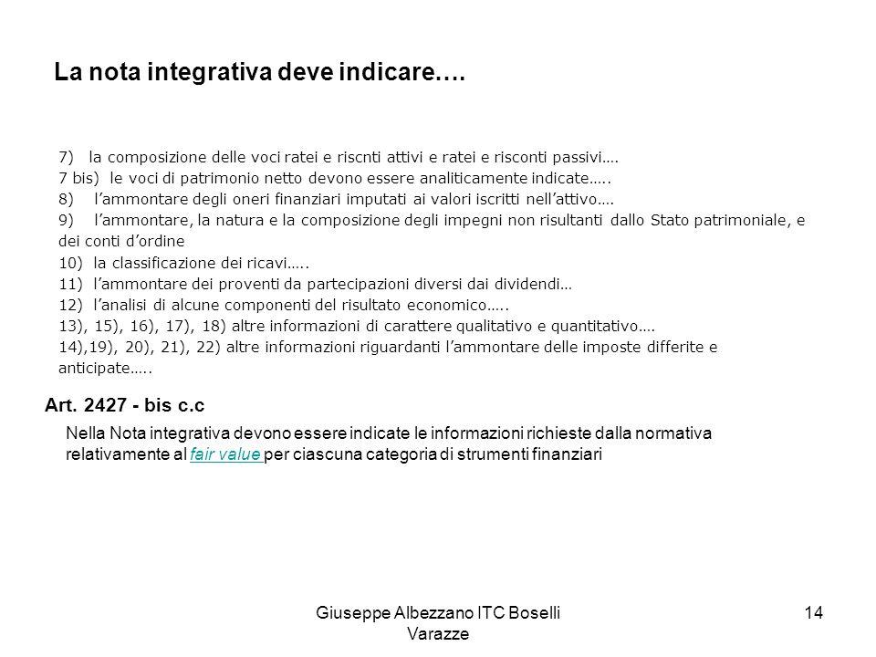 Giuseppe Albezzano ITC Boselli Varazze 15 Il bilancio in forma abbreviata Art.
