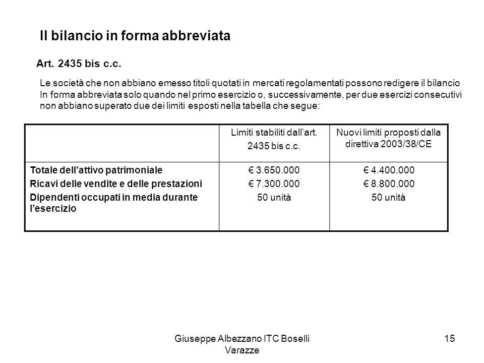 Giuseppe Albezzano ITC Boselli Varazze 16 Stato patrimonialeComprende soltanto le voci contrassegnate nellart.