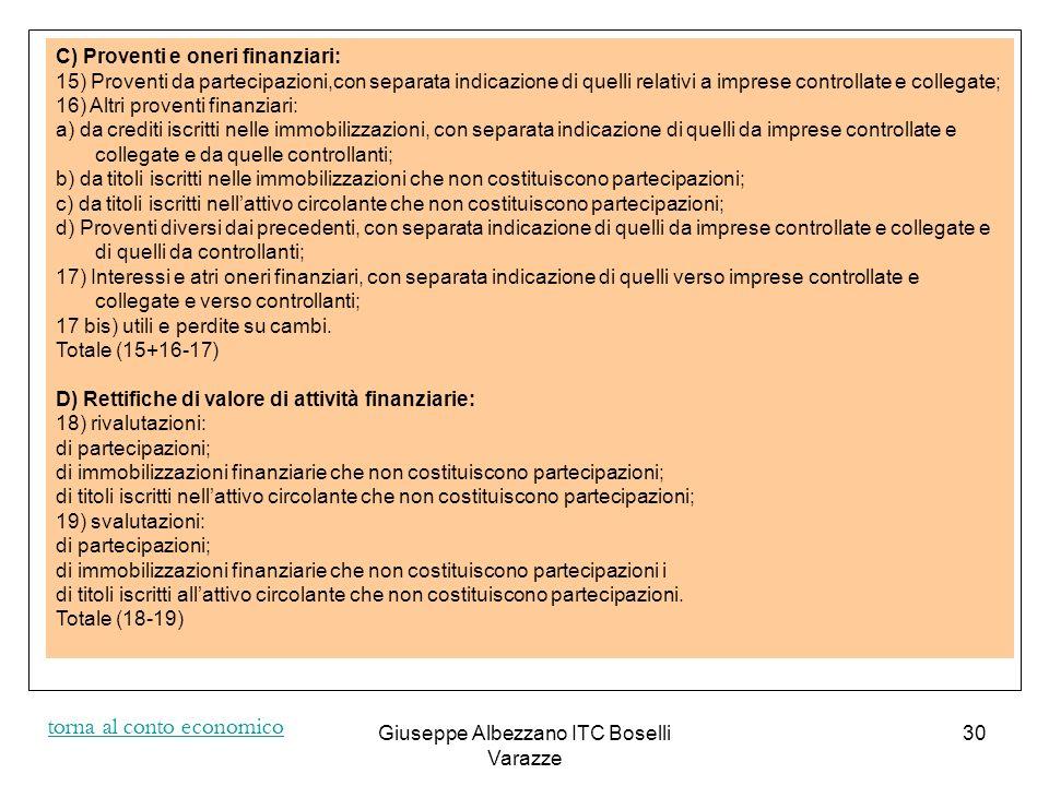 Giuseppe Albezzano ITC Boselli Varazze 31 E) Proventi e oneri straordinari: 20) proventi, con separata indicazione delle plusvalenze da alienazioni, i cui ricavi non sono iscrivibili al n.