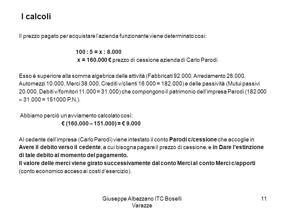 Giuseppe Albezzano ITC Boselli Varazze 11 I calcoli Il prezzo pagato per acquistare lazienda funzionante viene determinato cosi: 100 : 5 = x : 8.000 x