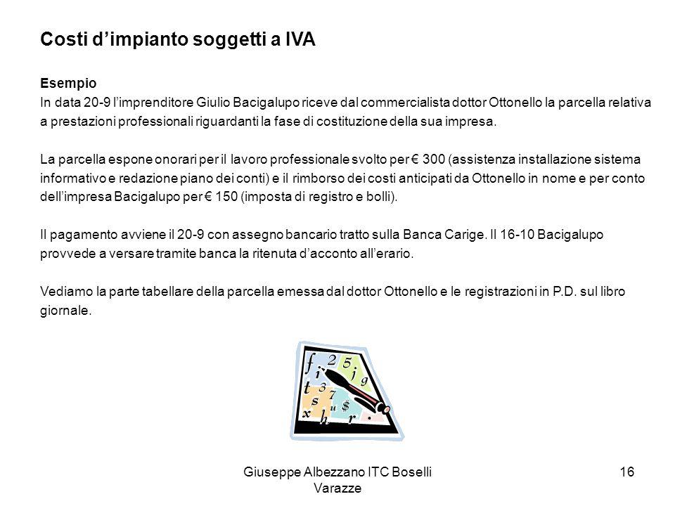 Giuseppe Albezzano ITC Boselli Varazze 16 Costi dimpianto soggetti a IVA Esempio In data 20-9 limprenditore Giulio Bacigalupo riceve dal commercialist