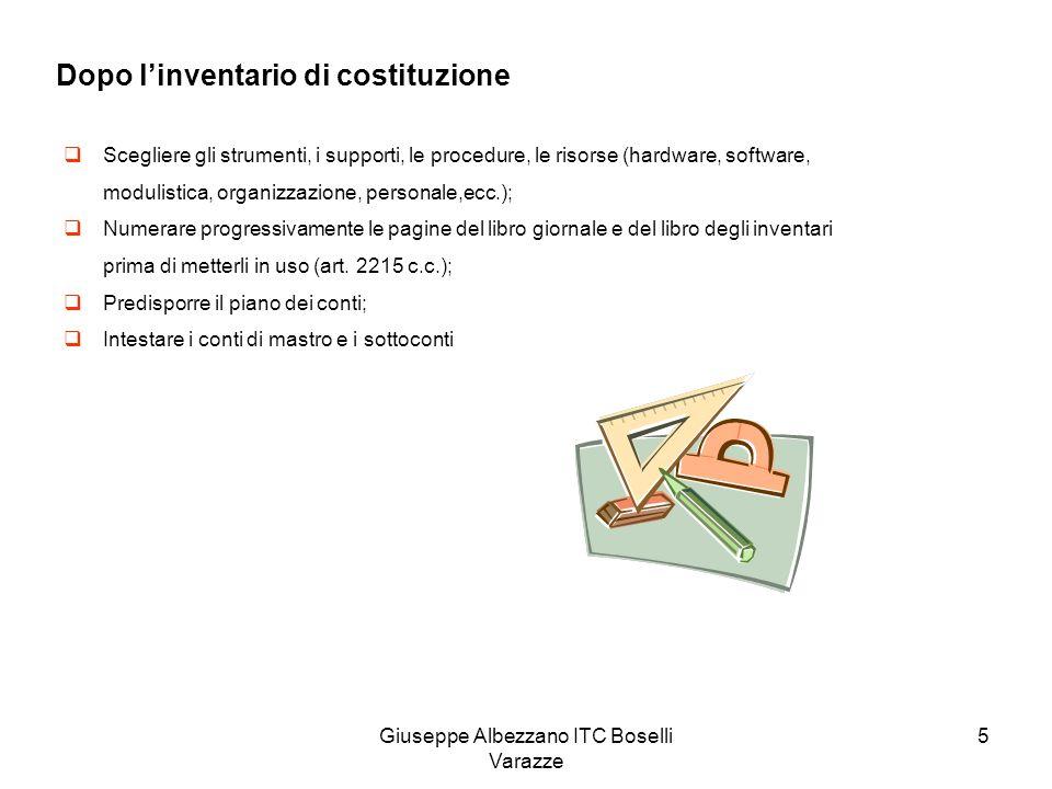 Giuseppe Albezzano ITC Boselli Varazze 5 Dopo linventario di costituzione Scegliere gli strumenti, i supporti, le procedure, le risorse (hardware, sof