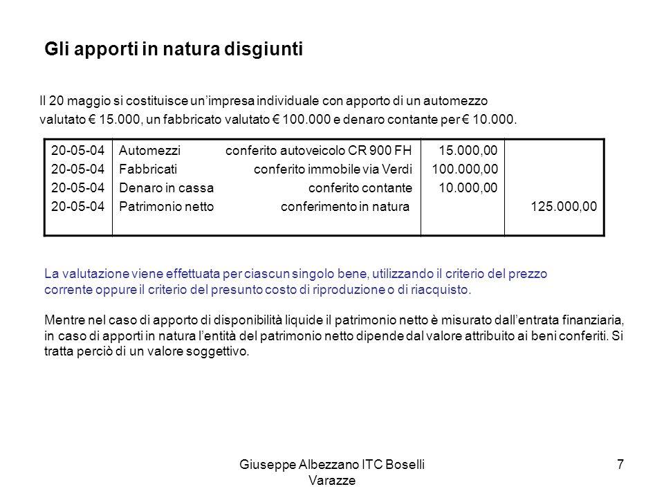 Giuseppe Albezzano ITC Boselli Varazze 7 Gli apporti in natura disgiunti Il 20 maggio si costituisce unimpresa individuale con apporto di un automezzo