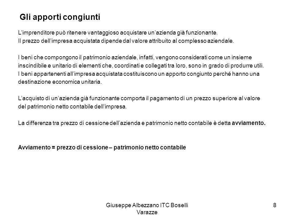 Giuseppe Albezzano ITC Boselli Varazze 8 Gli apporti congiunti Limprenditore può ritenere vantaggioso acquistare unazienda già funzionante. Il prezzo