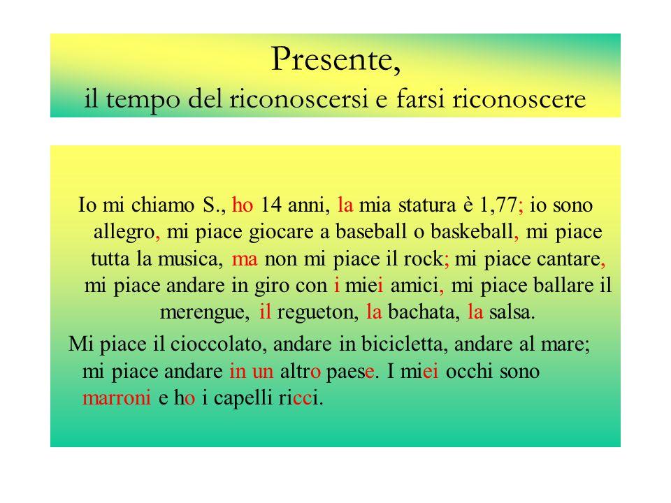 Presente, il tempo del riconoscersi e farsi riconoscere Io mi chiamo S., ho 14 anni, la mia statura è 1,77; io sono allegro, mi piace giocare a baseba