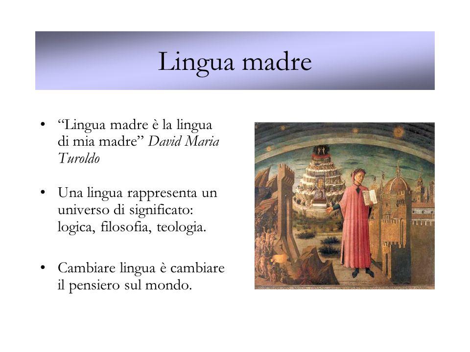 Lingua madre Lingua madre è la lingua di mia madre David Maria Turoldo Una lingua rappresenta un universo di significato: logica, filosofia, teologia.
