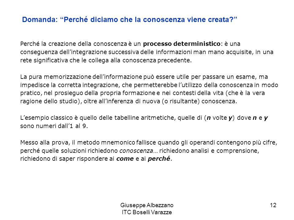 Giuseppe Albezzano ITC Boselli Varazze 13 È dimostrato che lapprendimento sufficiente per passare gli esami è molto diverso da quello necessario a raggiungere la comprensione dei principi sottostanti ai contenuti insegnati.
