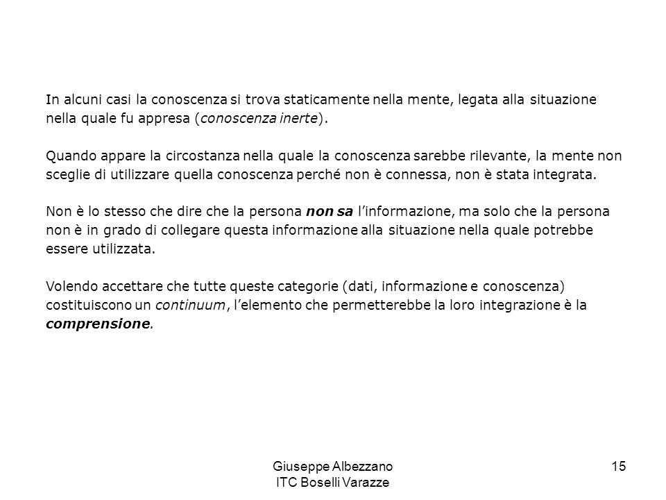 Giuseppe Albezzano ITC Boselli Varazze 16 Sapere e conoscere Sapere implica possedere i dati, poter richiamare lesistenza di qualcosa.