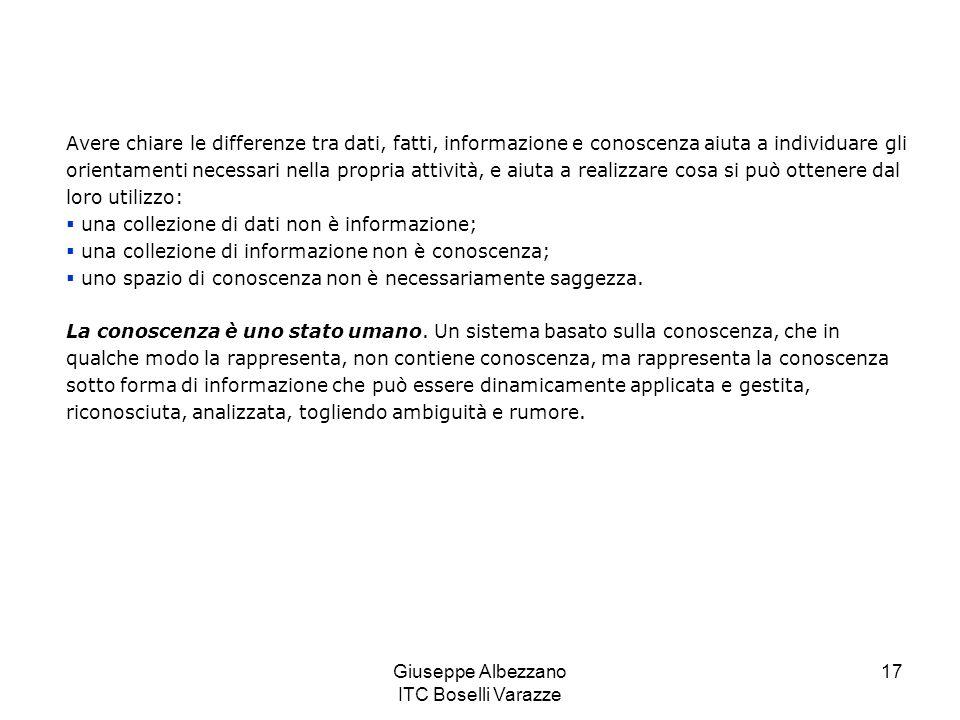 Giuseppe Albezzano ITC Boselli Varazze 18 Il concetto di rappresentazione e gestione della conoscenza non è tecnologico, crea un valore insostituibile perché permette di creare un modello esterno della conoscenza sul quale è possibile obiettivamente ragionare e trarre conclusioni.