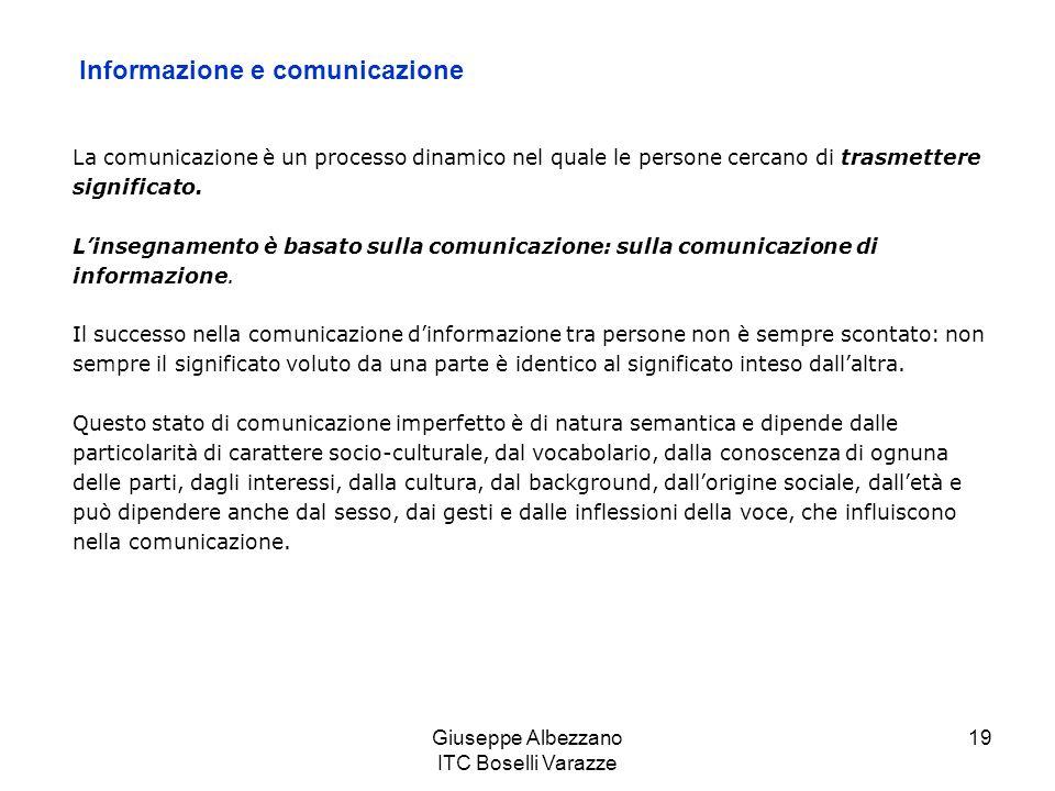 Giuseppe Albezzano ITC Boselli Varazze 20 La causa di questa distorsione nel significato, molto frequente e di misura variabile, viene chiamata rumore semantico.