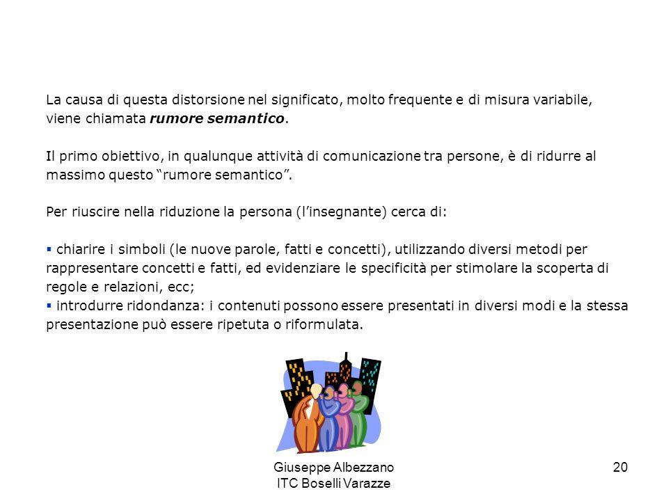 Giuseppe Albezzano ITC Boselli Varazze 21 Una comunicazione effettiva implica la presentazione dei contenuti con diverse quantità e tipi di ridondanza, che permetta al singolo individuo di trovare il proprio punto di contatto con la presentazione e con la rappresentazione dei contenuti, e di avere il tempo necessario per la comprensione.