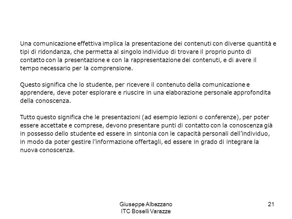 Giuseppe Albezzano ITC Boselli Varazze 22 Il rumore semantico, alla base di molte difficoltà di apprendimento, può essere ridotto con un livello appropriato di ridondanza attraverso lindividualizzazione, la personalizzazione e lintegrazione.