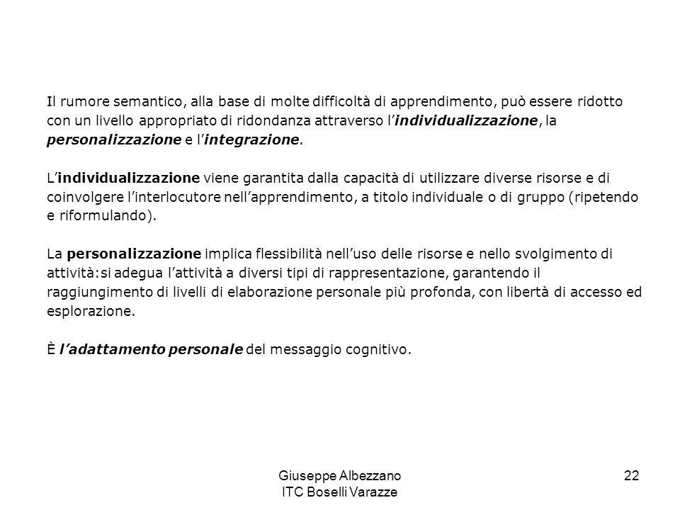 Giuseppe Albezzano ITC Boselli Varazze 23 Lintegrazione è relazionata con la disponibilità di risorse di diverso tipo e modalità (video, audio, testo, ecc.) che permettono lesplorazione, la manipolazione, lestrapolazione con lo stesso strumento cognitivo.