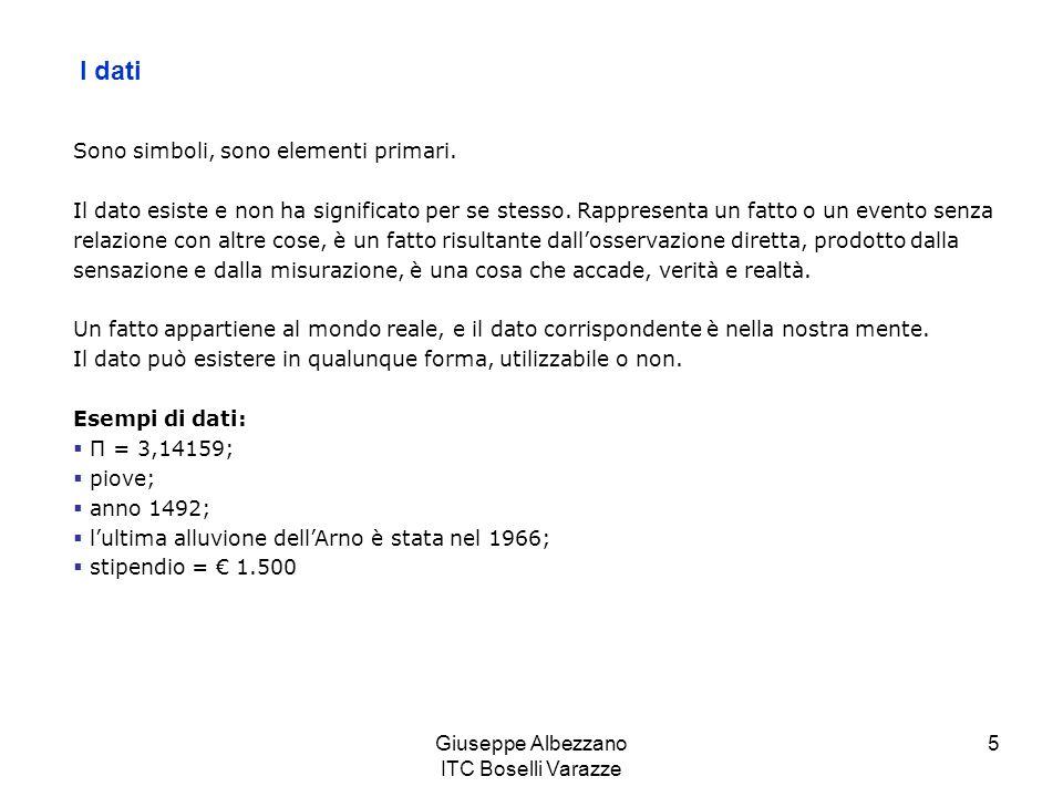 Giuseppe Albezzano ITC Boselli Varazze 6 Linformazione È il dato che è stato elaborato per essere utilizzabile, perché in qualche modo risiede in un contesto relazionale (lo scopo dei dati è conosciuto) ha un significato, e questo significato può essere utile….