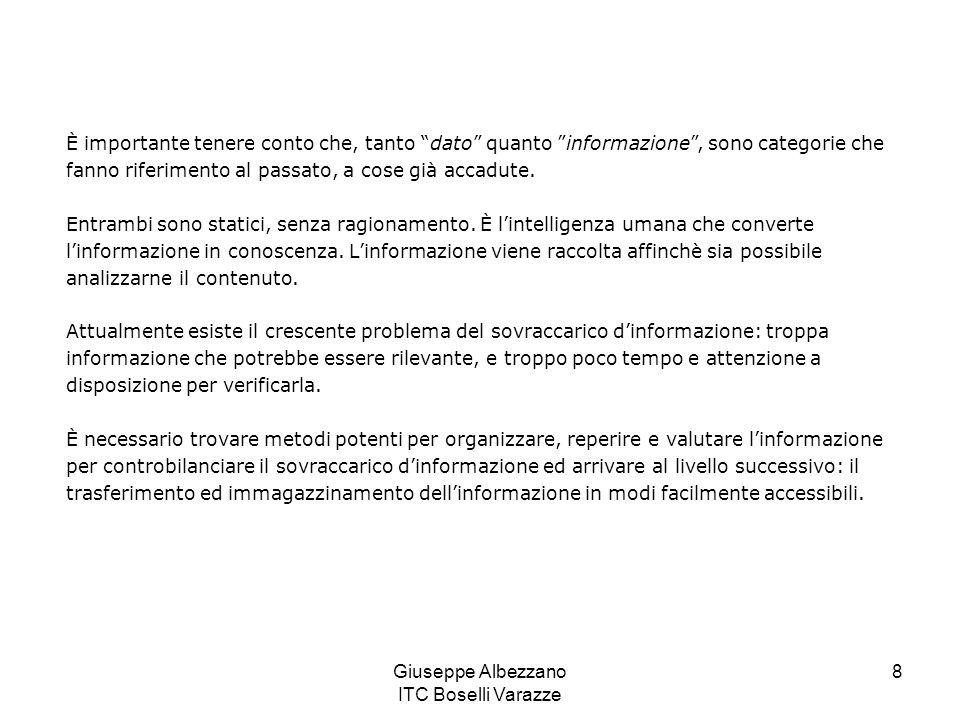 Giuseppe Albezzano ITC Boselli Varazze 9 Esempi di informazione: Si dice che la confusione tra dati, informazione e conoscenza ha avuto come risultato che molte istituzioni abbiano investito ingenti risorse nelle tecnologie per la gestione della conoscenza senza raggiungere risultati utili.
