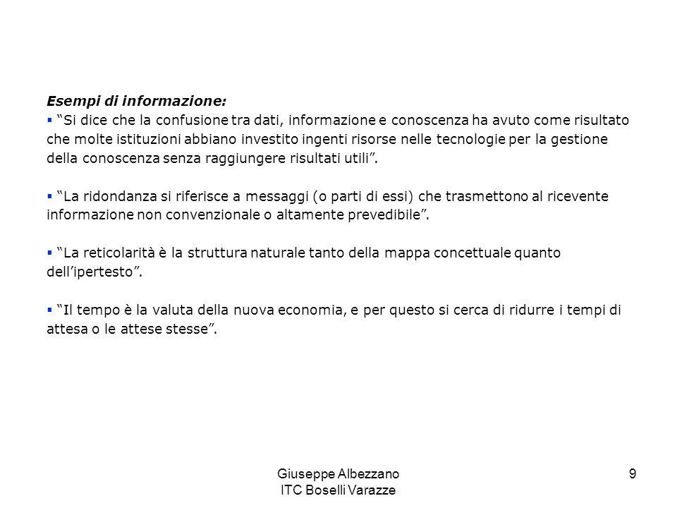 Giuseppe Albezzano ITC Boselli Varazze 10 Linformazione, oltre a possedere un contesto, può essere categorizzata (diventano evidenti le chiavi dellanalisi), può essere calcolata (quando contiene dettagli statistici), può essere corretta (se sono stati rimossi possibili errori), può essere condensata (perché è stata riassunta o strutturata in tabelle).
