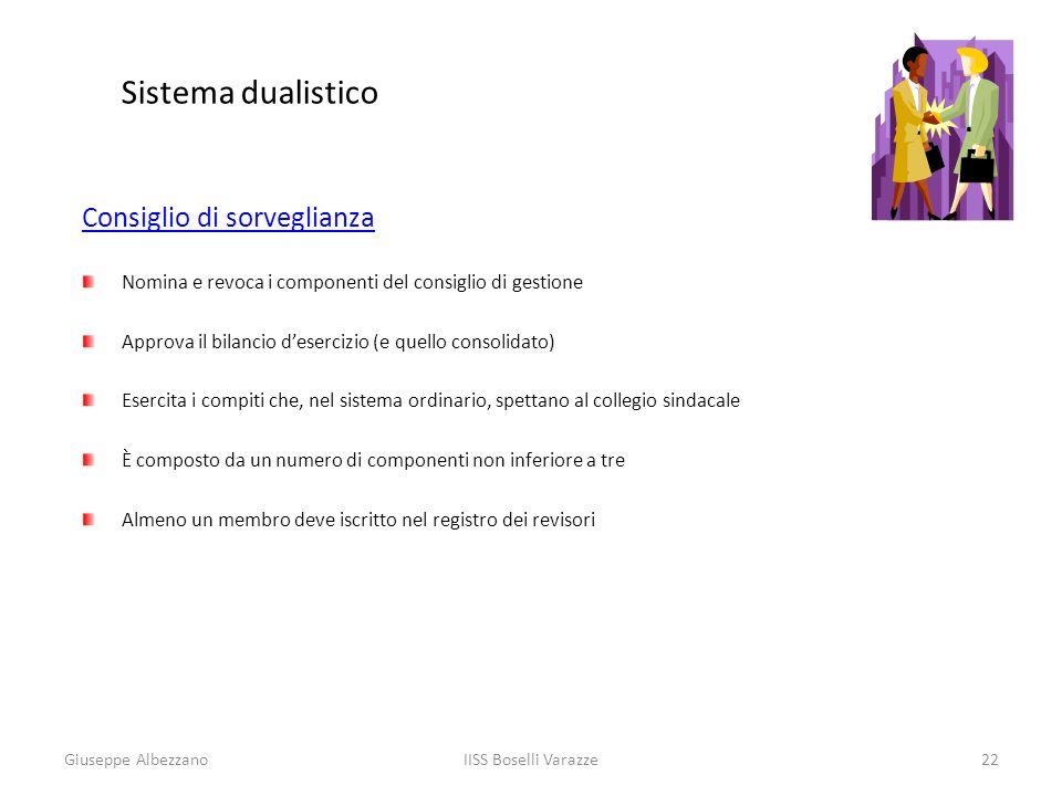 IISS Boselli Varazze22 Sistema dualistico Consiglio di sorveglianza Nomina e revoca i componenti del consiglio di gestione Approva il bilancio deserci