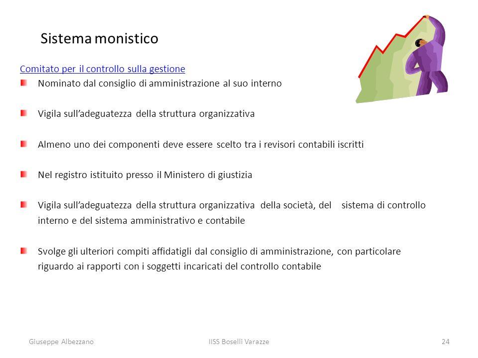 IISS Boselli Varazze24 Sistema monistico Comitato per il controllo sulla gestione Nominato dal consiglio di amministrazione al suo interno Vigila sull