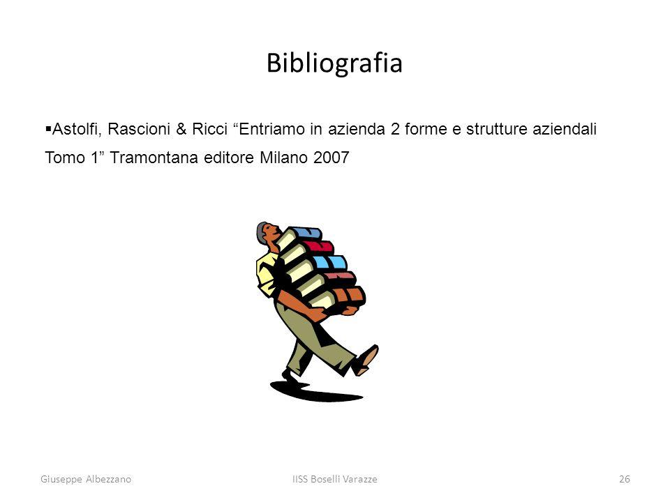 IISS Boselli Varazze26 Bibliografia Astolfi, Rascioni & Ricci Entriamo in azienda 2 forme e strutture aziendali Tomo 1 Tramontana editore Milano 2007