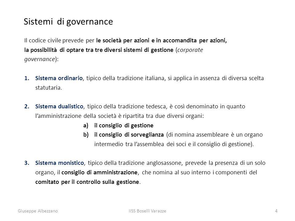 IISS Boselli Varazze4 Sistemi di governance Il codice civile prevede per le società per azioni e in accomandita per azioni, la possibilità di optare t