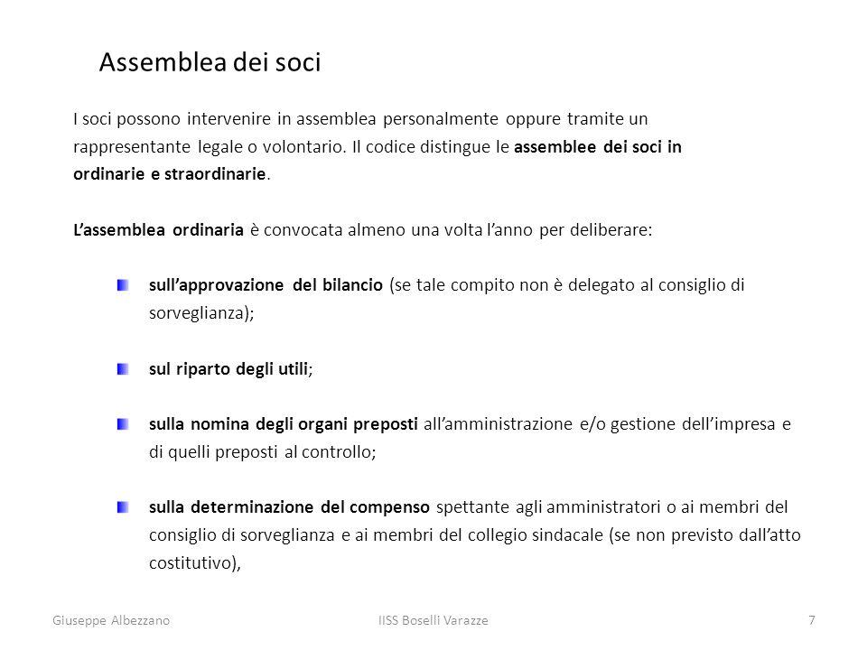 IISS Boselli Varazze8 Assemblea dei soci Lassemblea straordinaria delibera sulle modifiche dellatto costitutivo (ad esempio aumenti e diminuzioni del capitale sociale), nonché sulla nomina e sui poteri dei liquidatori in caso di scioglimento della società.