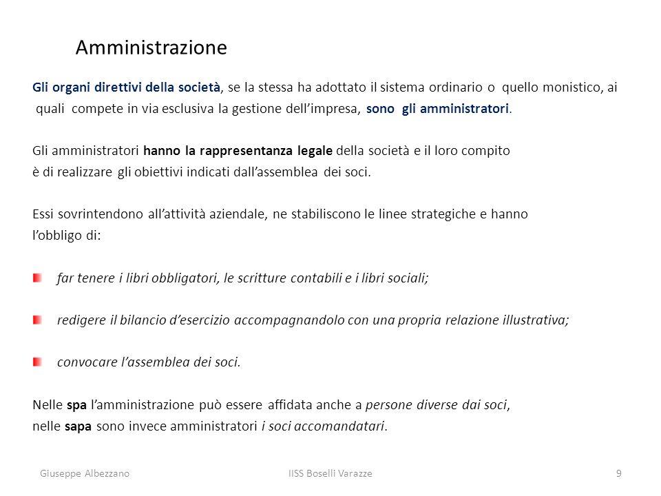 IISS Boselli Varazze9 Amministrazione Gli organi direttivi della società, se la stessa ha adottato il sistema ordinario o quello monistico, ai quali c