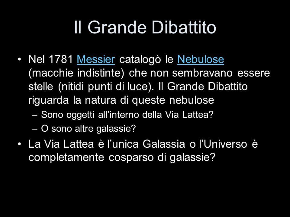 Il Grande Dibattito Nel 1781 Messier catalogò le Nebulose (macchie indistinte) che non sembravano essere stelle (nitidi punti di luce). Il Grande Diba