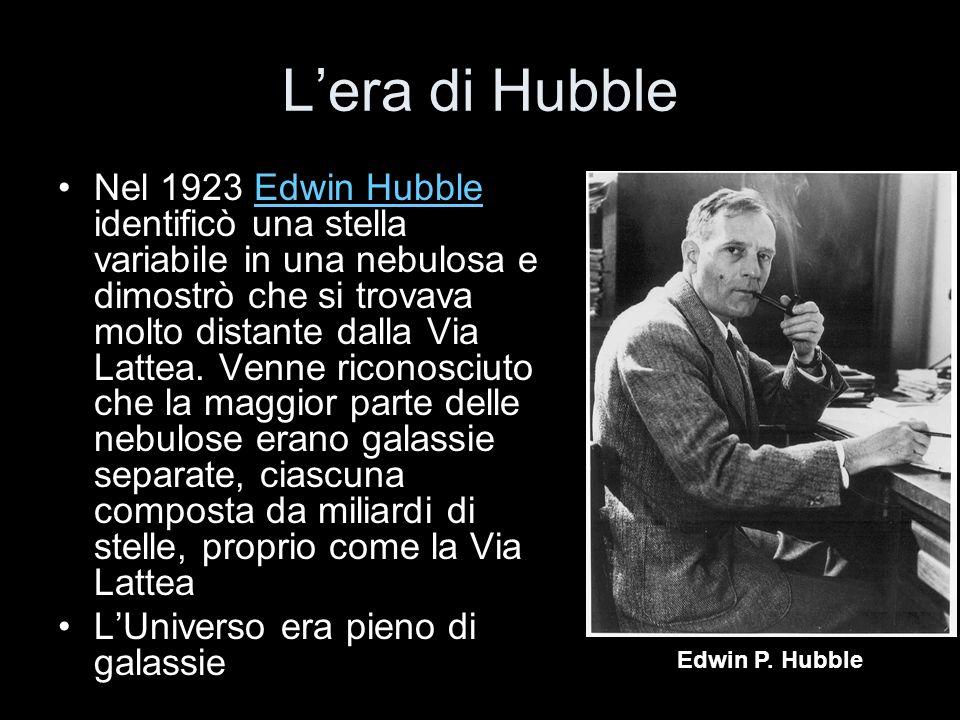 Lera di Hubble Nel 1923 Edwin Hubble identificò una stella variabile in una nebulosa e dimostrò che si trovava molto distante dalla Via Lattea. Venne