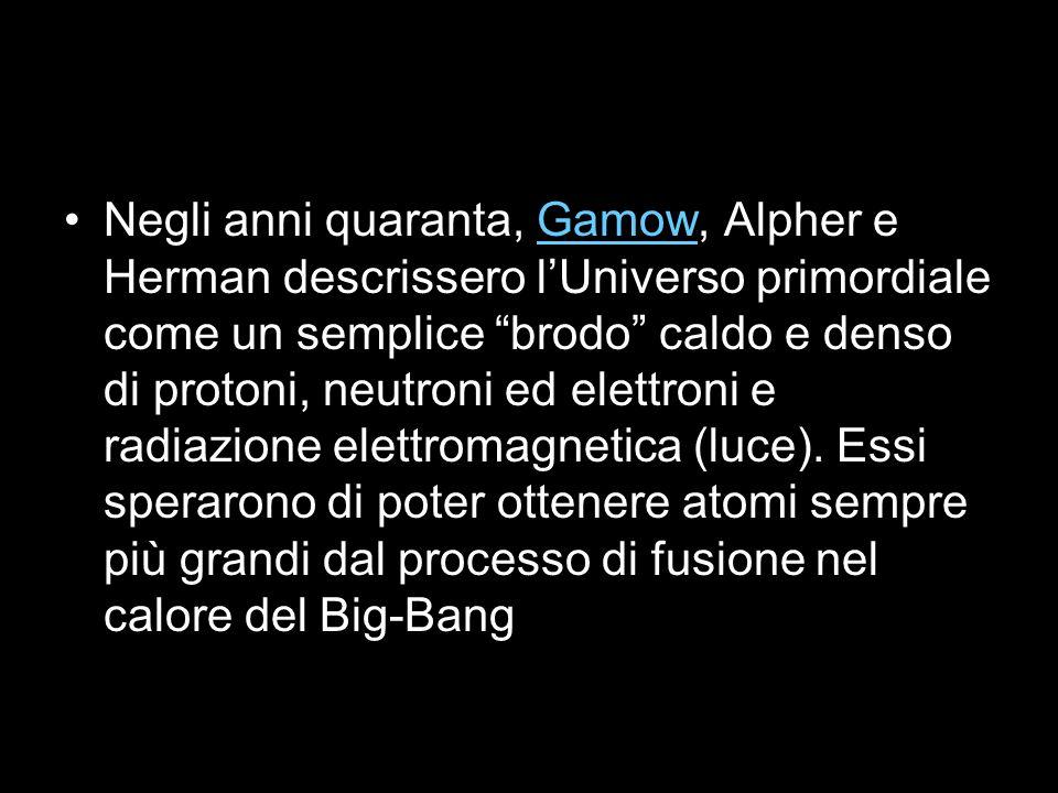 Negli anni quaranta, Gamow, Alpher e Herman descrissero lUniverso primordiale come un semplice brodo caldo e denso di protoni, neutroni ed elettroni e