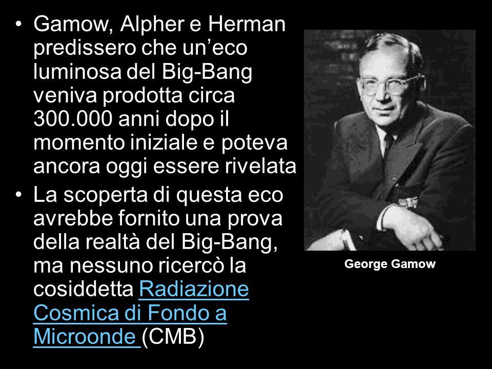 Gamow, Alpher e Herman predissero che uneco luminosa del Big-Bang veniva prodotta circa 300.000 anni dopo il momento iniziale e poteva ancora oggi ess