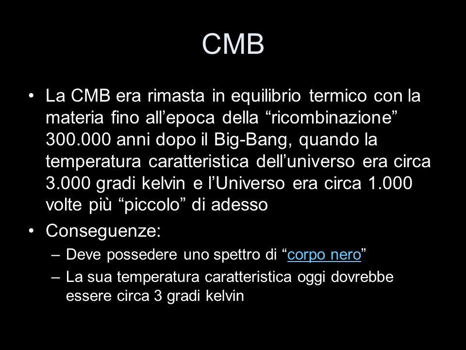 CMB La CMB era rimasta in equilibrio termico con la materia fino allepoca della ricombinazione 300.000 anni dopo il Big-Bang, quando la temperatura ca