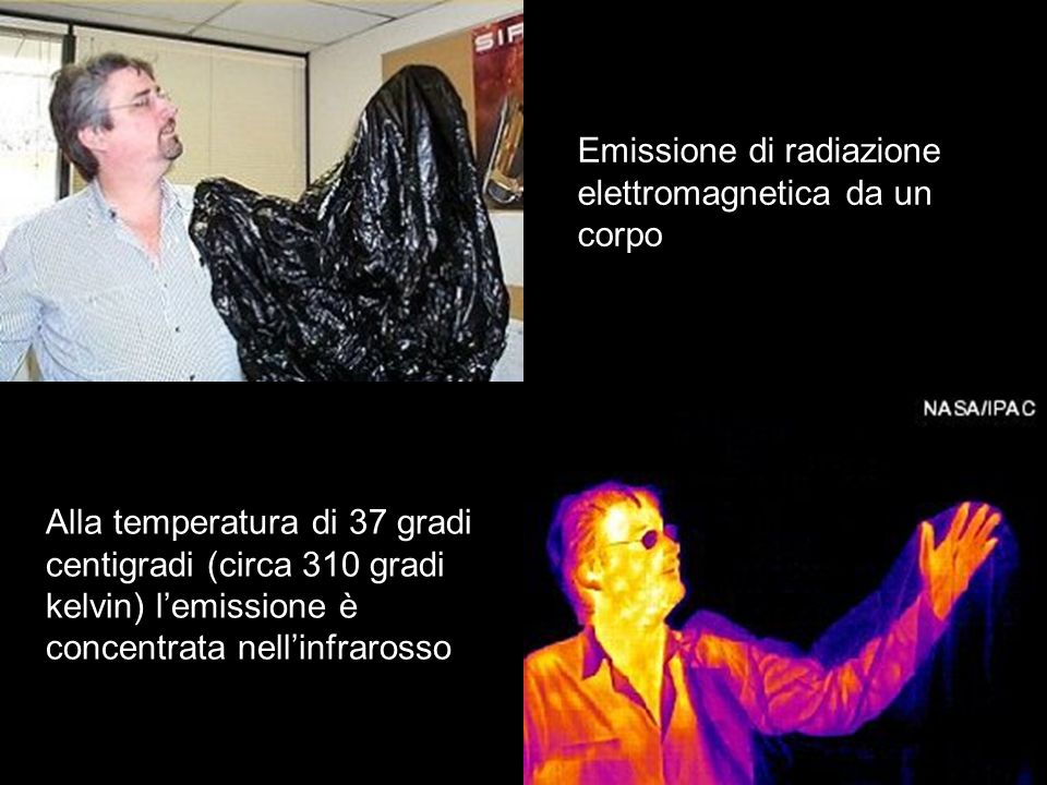 Al diminuire della temperatura il massimo della curva della radiazione di corpo nero si sposta verso minori intensità e maggiori lunghezze donda Lo spettro di un filamento incandescente in un tipico flash.