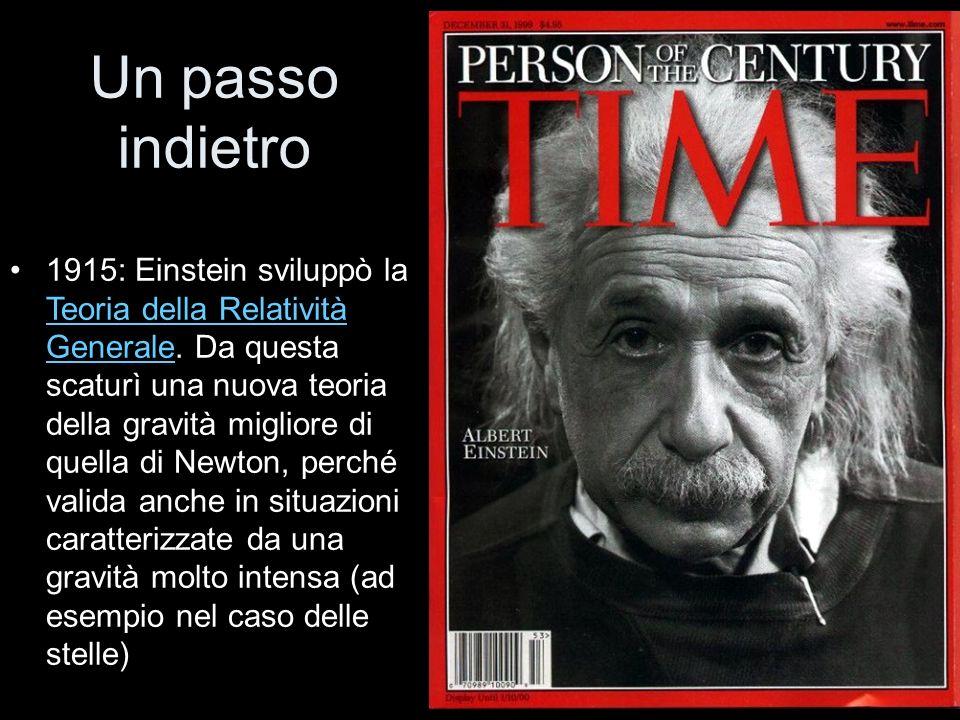 1915: Einstein sviluppò la Teoria della Relatività Generale. Da questa scaturì una nuova teoria della gravità migliore di quella di Newton, perché val