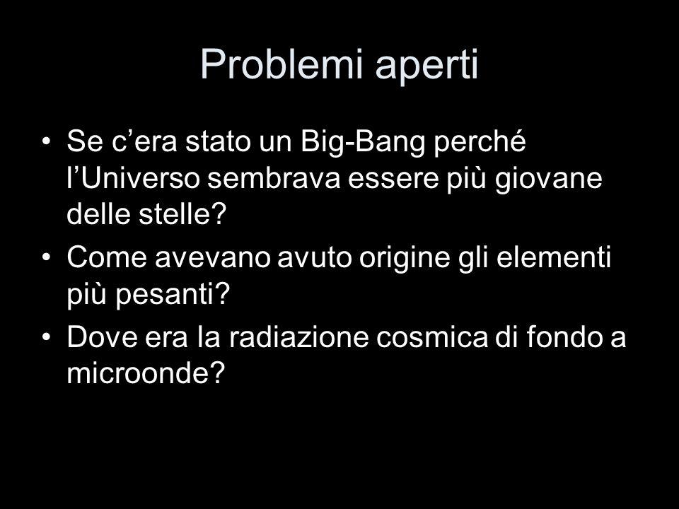Problemi aperti Se cera stato un Big-Bang perché lUniverso sembrava essere più giovane delle stelle? Come avevano avuto origine gli elementi più pesan