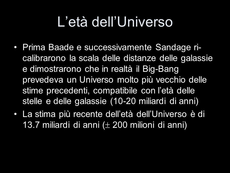 Letà dellUniverso Prima Baade e successivamente Sandage ri- calibrarono la scala delle distanze delle galassie e dimostrarono che in realtà il Big-Ban