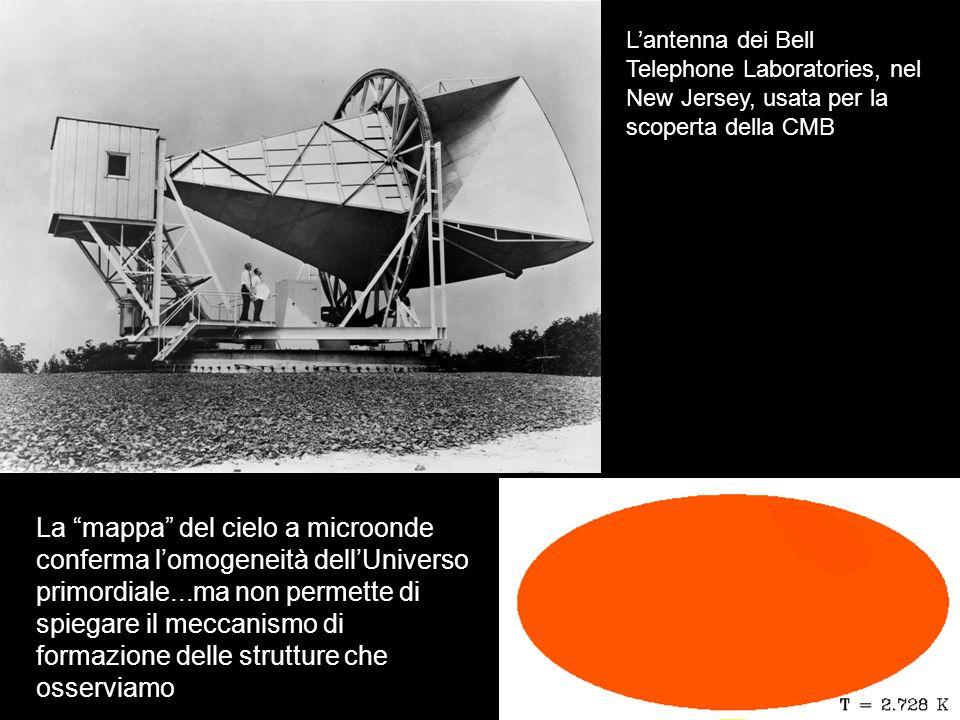 Lantenna dei Bell Telephone Laboratories, nel New Jersey, usata per la scoperta della CMB La mappa del cielo a microonde conferma lomogeneità dellUniv