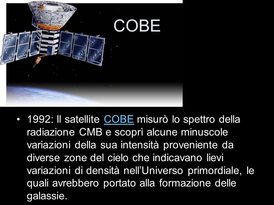 COBE 1992: Il satellite COBE misurò lo spettro della radiazione CMB e scoprì alcune minuscole variazioni della sua intensità proveniente da diverse zo