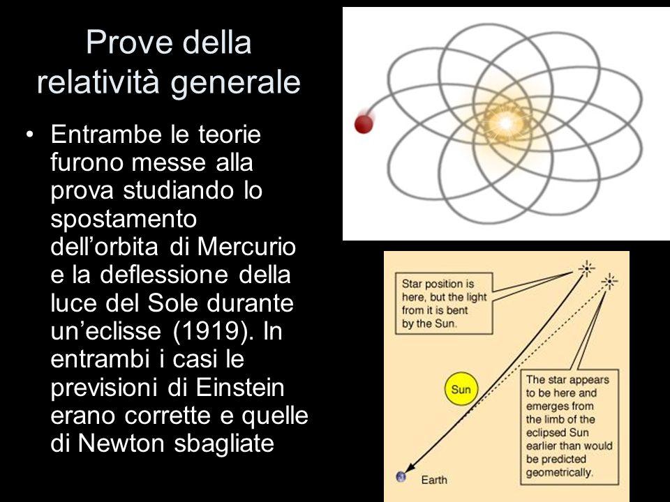 Prove della relatività generale Entrambe le teorie furono messe alla prova studiando lo spostamento dellorbita di Mercurio e la deflessione della luce