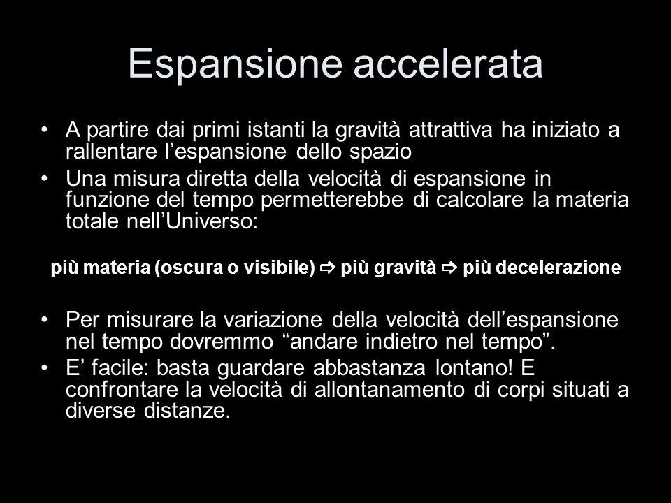 Espansione accelerata A partire dai primi istanti la gravità attrattiva ha iniziato a rallentare lespansione dello spazio Una misura diretta della vel