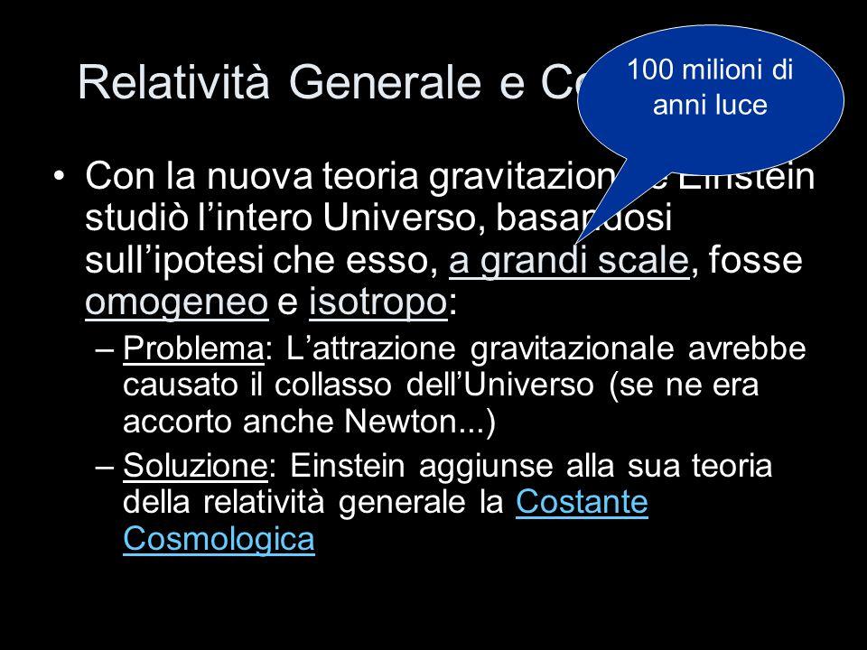 Relatività Generale e Cosmologia Con la nuova teoria gravitazionale Einstein studiò lintero Universo, basandosi sullipotesi che esso, a grandi scale,