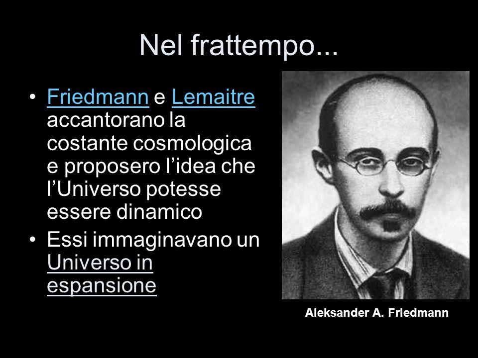 Nel frattempo... Friedmann e Lemaitre accantorano la costante cosmologica e proposero lidea che lUniverso potesse essere dinamicoFriedmannLemaitre Ess