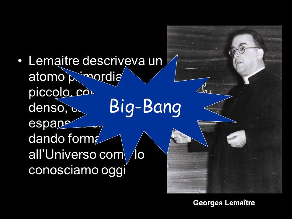 Lemaitre descriveva un atomo primordiale piccolo, compatto e denso, che esplose, si espanse e si evolse dando forma allUniverso come lo conosciamo ogg