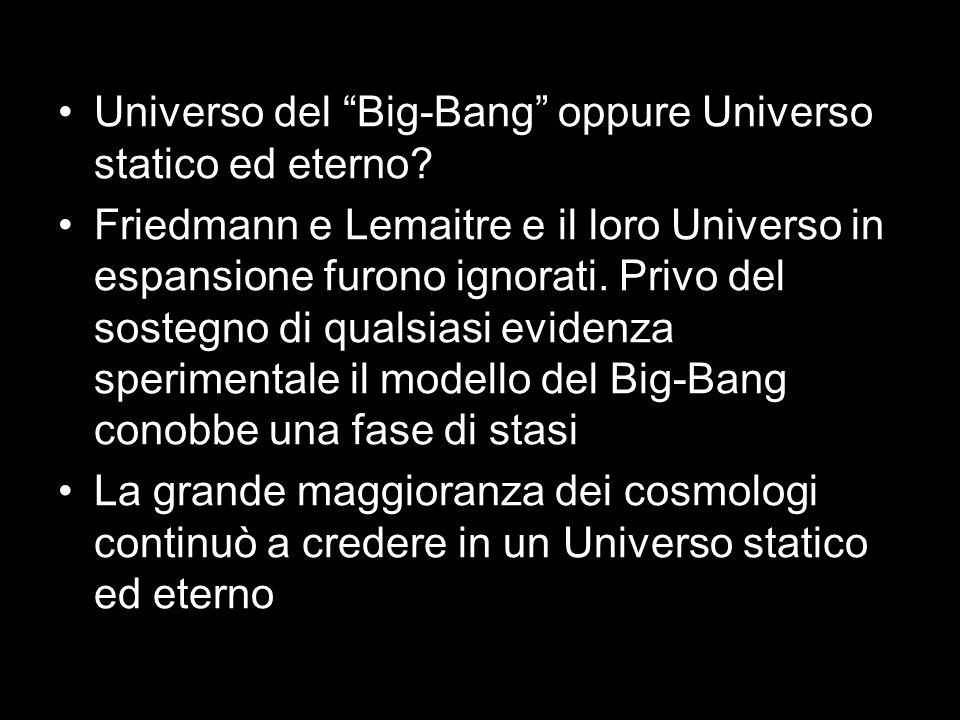 Universo del Big-Bang oppure Universo statico ed eterno? Friedmann e Lemaitre e il loro Universo in espansione furono ignorati. Privo del sostegno di