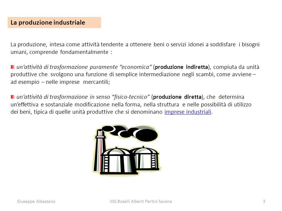Giuseppe AlbezzanoIISS Boselli Alberti Pertini Savona4 La produzione industriale Lelemento sostanziale che caratterizza le imprese industriali, quindi, è la presenza di una specifica funzione di produzione.