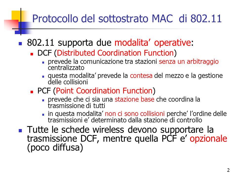 2 Protocollo del sottostrato MAC di 802.11 802.11 supporta due modalita operative: DCF (Distributed Coordination Function) prevede la comunicazione tr