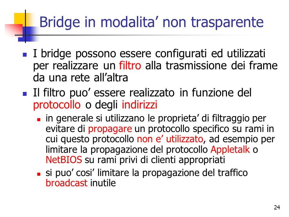 24 Bridge in modalita non trasparente I bridge possono essere configurati ed utilizzati per realizzare un filtro alla trasmissione dei frame da una re