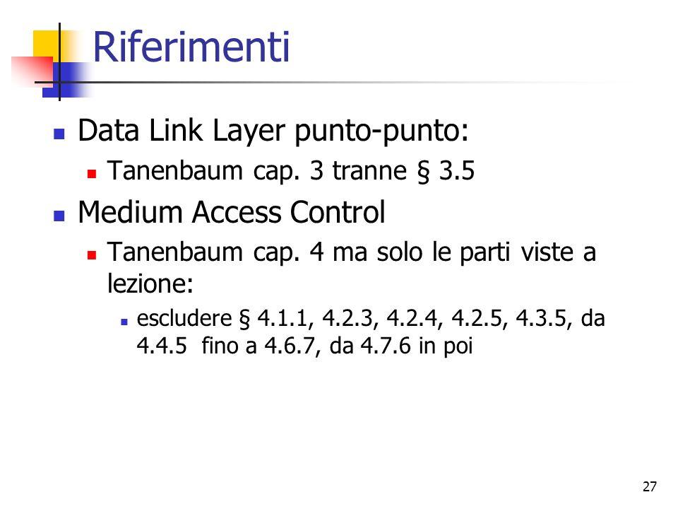 27 Riferimenti Data Link Layer punto-punto: Tanenbaum cap. 3 tranne § 3.5 Medium Access Control Tanenbaum cap. 4 ma solo le parti viste a lezione: esc