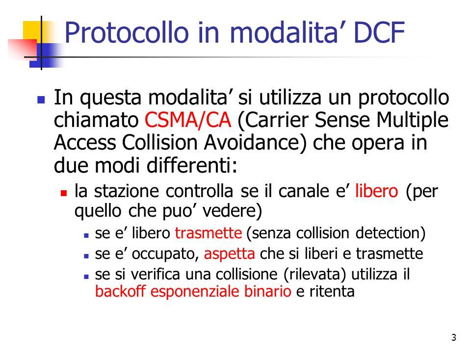 3 Protocollo in modalita DCF In questa modalita si utilizza un protocollo chiamato CSMA/CA (Carrier Sense Multiple Access Collision Avoidance) che ope