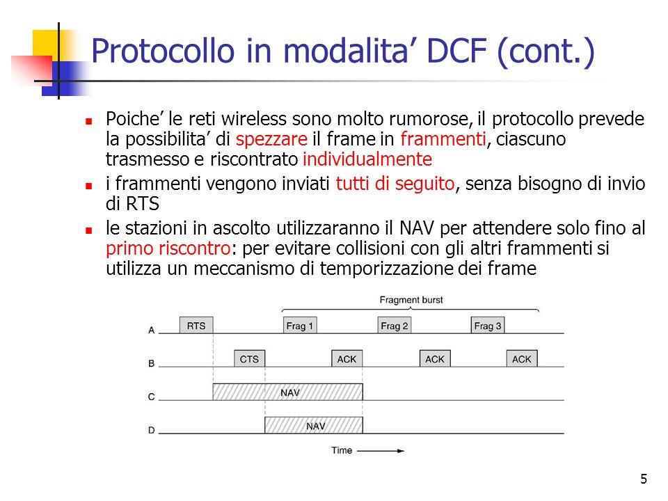 5 Protocollo in modalita DCF (cont.) Poiche le reti wireless sono molto rumorose, il protocollo prevede la possibilita di spezzare il frame in frammen